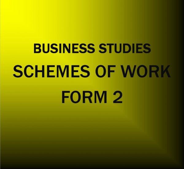 Form 2-business studies -Scheme of work