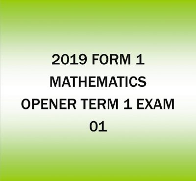 2019 Form 1-Mathematics-Opener Term 1 exam -01