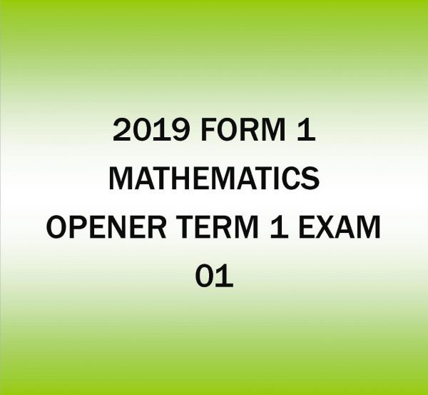2019 Form 1-Mathematics-Opener Term 1 exam -01