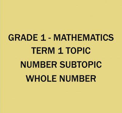 GRADE 1 - MATHEMATICS - TERM 1 - WEEK 1 - WEEK 4